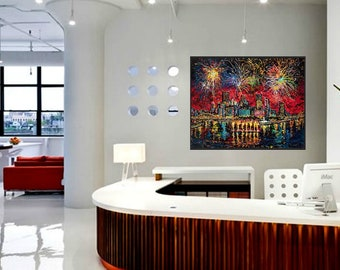 Fireworks, 4th of July, Corporate wall art, Pittsburgh fireworks, Man cave wall art, Johno Prascak, Johnos Art Studio