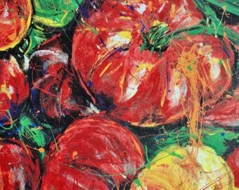 Garden Art , Kitchen wall art, Red Tomato, Red Tomatoes print by pittsburgh artist Johno Prascak