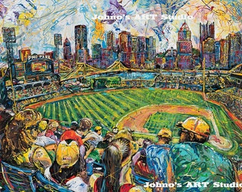 Pittsburgh  Pirates art, PNC Park print, Baseball print, by Johno Prascak, Pittsburgh art
