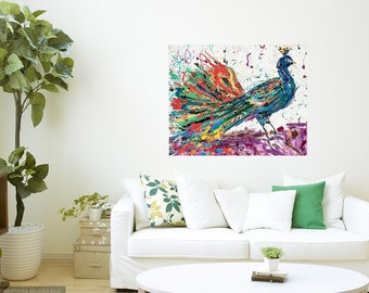 Peacock art, Peacock print, Peacock wall art, bedroom art, Victorian Bird art, Johno Prascak, Johnos Art Studio