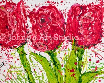 Modern wall art, Tulip painting, Abstract flowers, 16 x 20 Print by Johno Prascak