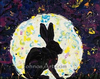 Bunny wall art, Rabbit art, full moon, midnight, modern wall art, by Johno Prascak, Pittsburgh artist