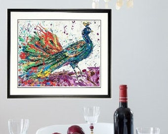 Peacock wall art, Peacock print, Bird wall art, Framed Bird art, Peacock feathers, by Johno Prascak