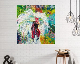 Rooster wall art, Farm art, funky wall art, chicken art, farm animal art, metal prints, Johno Prascak, Johnos Art Studio