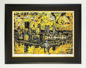 Steelers Black and Gold, Framed print, Pittsburgh pride, Pittsburgh wall art, man Cave art, by Johno Prascak