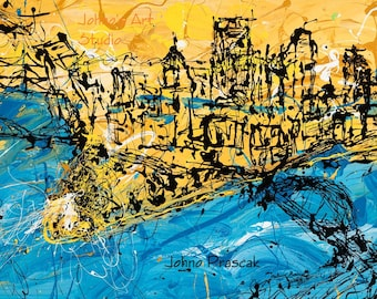 Pittsburgh Skyline Art,  Modern Pittsburgh wall art, Blue and Gold Pittsburgh, Abstract Pittsburgh Print by Johno Prascak