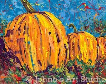 Pumpkin art, Orange Pumpkin Print, fall garden art, 16 x 20 by Pittsburgh Artist Johno Prascak