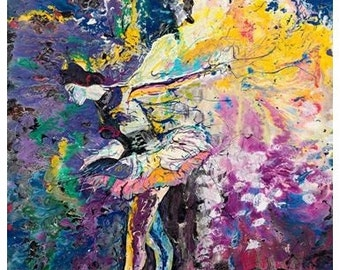 Ballerina Art, Dancer painting, Tutu, purple dancer, The Moment, Pittsburgh artist, Johno Prascak