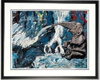 Elephant wall art, Elephant in water, Elephant print, Funny animal art, Waterfall wall art,  Johno Prascak
