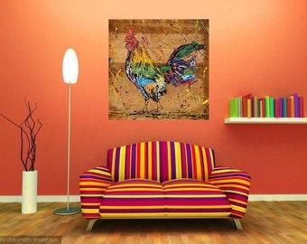 Livingroom art, Rooster print, Kitchen art, Farm animal art, Bird art, Nature art, metal prints,  Johno Prascak, Johnos Art Studio
