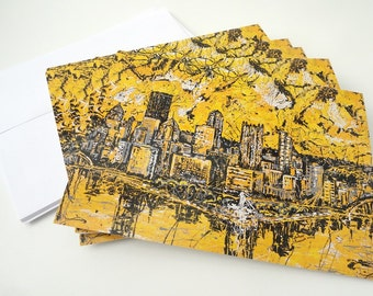 Black n Gold, Pittsburgh notecards, Pittsburgh Skyline, Greeting Cards by artist Johno Prascak, Johnos Art Studio