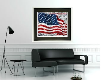 American Flag wall art, Patriotic art, Flag print, Framed print, USA Flag wall art, man Cave art, by Johno Prascak