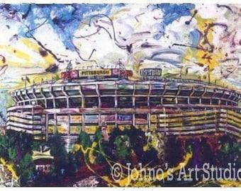 Pittsburgh football, Pittsburgh Art, Three Rivers Stadium, Pittsburgh  Football Print, Pittsburgh historic art