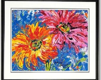 Modern Flower print, Daisy wall art, Spring Flowers, Gerbera Daisy, garden room art, Framed garden art, honeycomb, by Johno Prascak