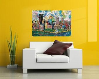 Metal print, 24 x 36 , Pittsburgh Skyline art, Modern wall art, Pittsburgh Artist, City Skyline, Three Rivers ,The Point,  by Johno Prascak