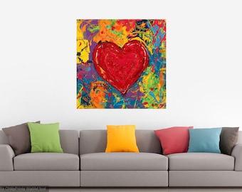 Heart art, Modern wall art, Lovers art, Sweatheart wall art, Big red Heart,  metal prints,  Johno Prascak, Johnos Art Studio