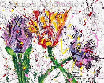 Floral painting, Parrot Tulips, Garden art, Gift for Her, Flower painting by Johno Prascak of Pittsburgh