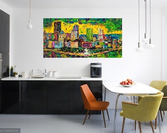 Pittsburgh skyline,  Skyline art, large Pittsburgh art, Modern wall art, Metal prints, Pittsburgh Artist, Johno Prascak