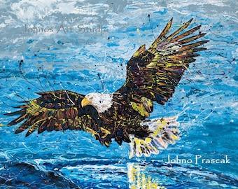 Eagle wall art, man cave art, Bald Eagle print, Pittsburgh Eagles, Pittsburgh artist, by Johno Prascak, Johnos Art Studio