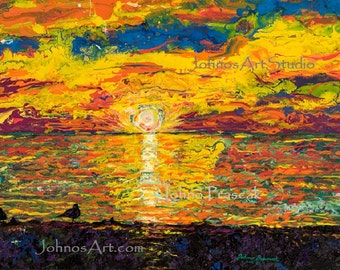 Lake Erie, Sunset art,  Presque Isle State Park, Erie ,PA, art by Johno Prascak, Sunset at the beach