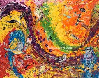 Abstract wall art, Modern wall art, Metal prints, Pittsburgh Artist, Bird art, Songbirds wall art, Johno Prascak