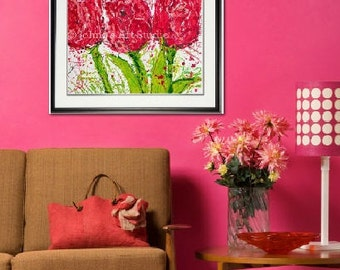 Tulip print, Tulip wall art, Spring Flowers, Spring Bulbs garden room art, Garden Flowers,  Framed garden art, honeycomb, by Johno Prascak
