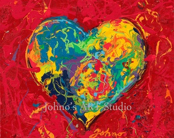Will and Grace wall art, Red Heart wall art, impressionism wall art, Gift for sweetheart, Heart Print by Johno Prascak of Pittsburgh