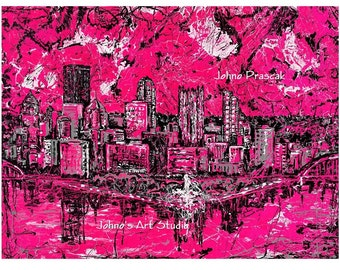Pittsburgh Skyline Art, Pink wall art, Hot Pink, Pink Pittsburgh, Print by Johno Prascak, Johnos Art Studio