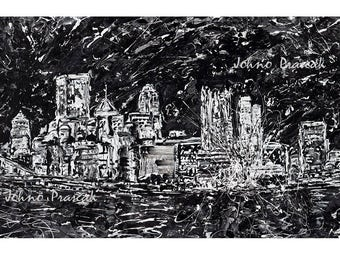 Pittsburgh Art, Modern art, Pittsburgh wall art, Black and White Pittsburgh, Abstract Pittsburgh Print by Johno Prascak