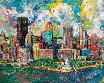 Man cave art, Modern Pittsburgh wall art, Pittsburgh Skyline art, Pittsburgh Artist,Three Rivers ,The Point,  by Johno Prascak