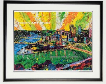 Pittsburgh Skyline art, Steel Beams to Sun Beams, Pittsburgh wall art, Framed print, Pittsburgh pride, man Cave art, by Johno Prascak