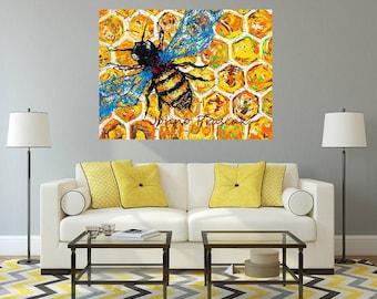 Honey Bee art, Bee art, bees, garden art, garden critters, Metal prints, Pittsburgh Artist,  by Johno Prascak