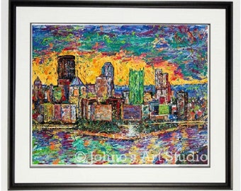 Pittsburgh Skyline art, Pittsburgh Point print, Pittsburgh wall art, Sunset print, Pittsburgh pride, man Cave art, by Johno Prascak