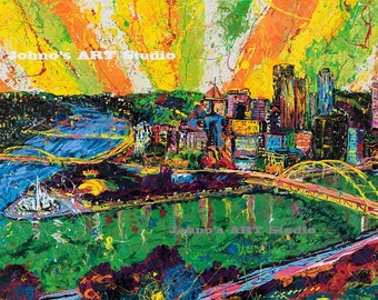 Pittsburgh art, Pittsburgh skyline print, Steel Beams to Sun Beams, art by Johno Prascak, steel city art