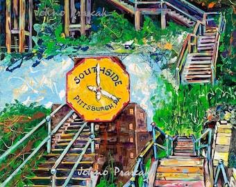 Pittsburgh South Side Steps, city steps, staircase, Pittsburgh print, Pittsburgh wall art, man cave art, Johno Prascak, Johnos Art Studio
