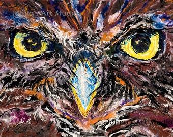 Owl art, Owl print, Owl wall art, 16x20 Giclee print, modern wall art, by Johno prascak, Pittsburgh artist