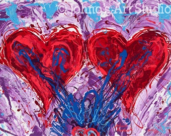 Two Hearts Painting by Johno, Gift for sweetheart, Print by Johno Prascak of Pittsburgh