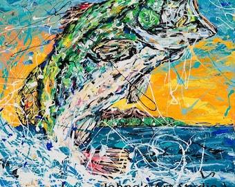 Fish art, Fish wall art, man cave art, bass fishing, guy room art, large mouth bass, 16x20 print, by Johno prascak, Pittsburgh artist