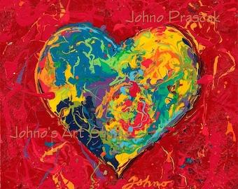 Will & Grace wall art, Heart art, Modern wall art, Lovers art, Sweetheart wall art, Art for Lovers,  Johno Prascak, Johnos Art Studio