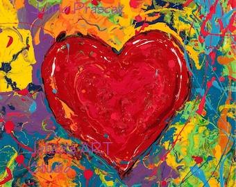 Big Heart art, Love art, Heart art, Modern wall art, Lovers art, Sweatheart wall art, metal prints,  Johno Prascak, Johnos Art Studio