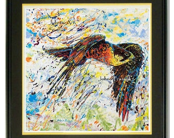 Peregrine Falcon wall art, Bird of prey art, wildlife art print, Framed Bird art,  Birds of Prey wall art, by Johno Prascak
