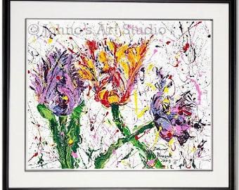 Tulip wall art, Spring Flowers wall art, Tulip print, Three, garden room wall art, Framed garden art, honeycomb, by Johno Prascak