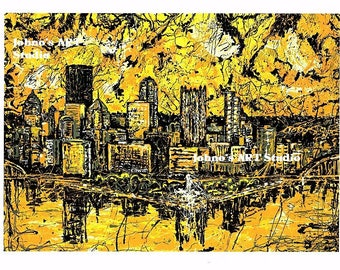 Pittsburgh Skyline wall art, Man cave wall art, Fathers day, gift for dad,  Black n Gold Pittsburgh,  City Skyline print, by Johno Prascak