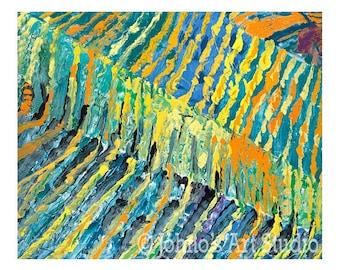 Landscape art, Abstract art, Modern wall art, Vineyards From Above, Print by Johno Prascak, Pittsburgh art