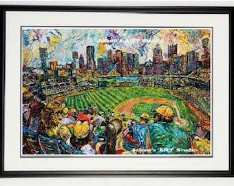 PNC Park, Buccos wall art, Pittsburgh Stadium print, baseball print, Pittsburgh wall art, Pittsburgh pride, man Cave art, by Johno Prascak