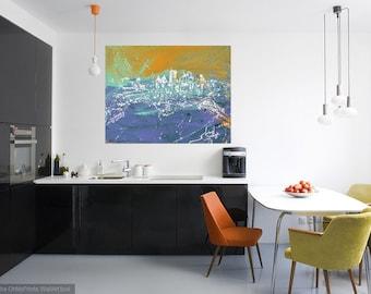 Pittsburgh Skyline art, Modern wall art, Metal prints, Pittsburgh Artist, City Skyline,  Johno Prascak
