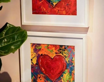 30 x30 LARGE Valentines Day art, Red Heart wall art, Abstract Heart , Gift for sweetheart, Heart Print by Johno Prascak of Pittsburgh