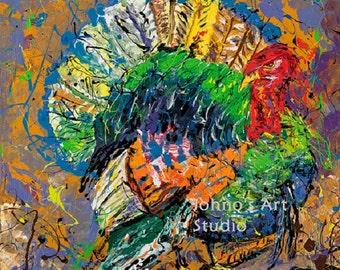 Thanksgiving art, Turkey wall art, wild bird art, hunting wall art, man cave wall art, art by Johno prascak
