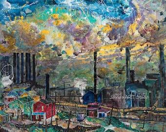 Steel Mill wall art, Corporate wall art, Man cave wall art, Pittsburgh Steel Mill, Industrial age art, Johno Prascak, Johnos Art Studio
