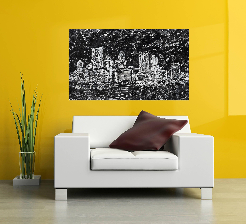 Pittsburgh artist Pittsburgh skyline abstract art black and white art Pittsburgh art Johnos Art Studio by Johno Prascak